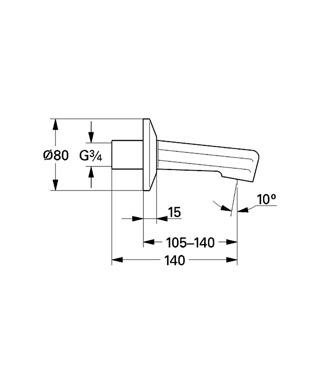 Projection 140 mm  Technical Product Information Grohe   Wall Mounted Bath Spouts. 3 4 Bath Spout. Home Design Ideas