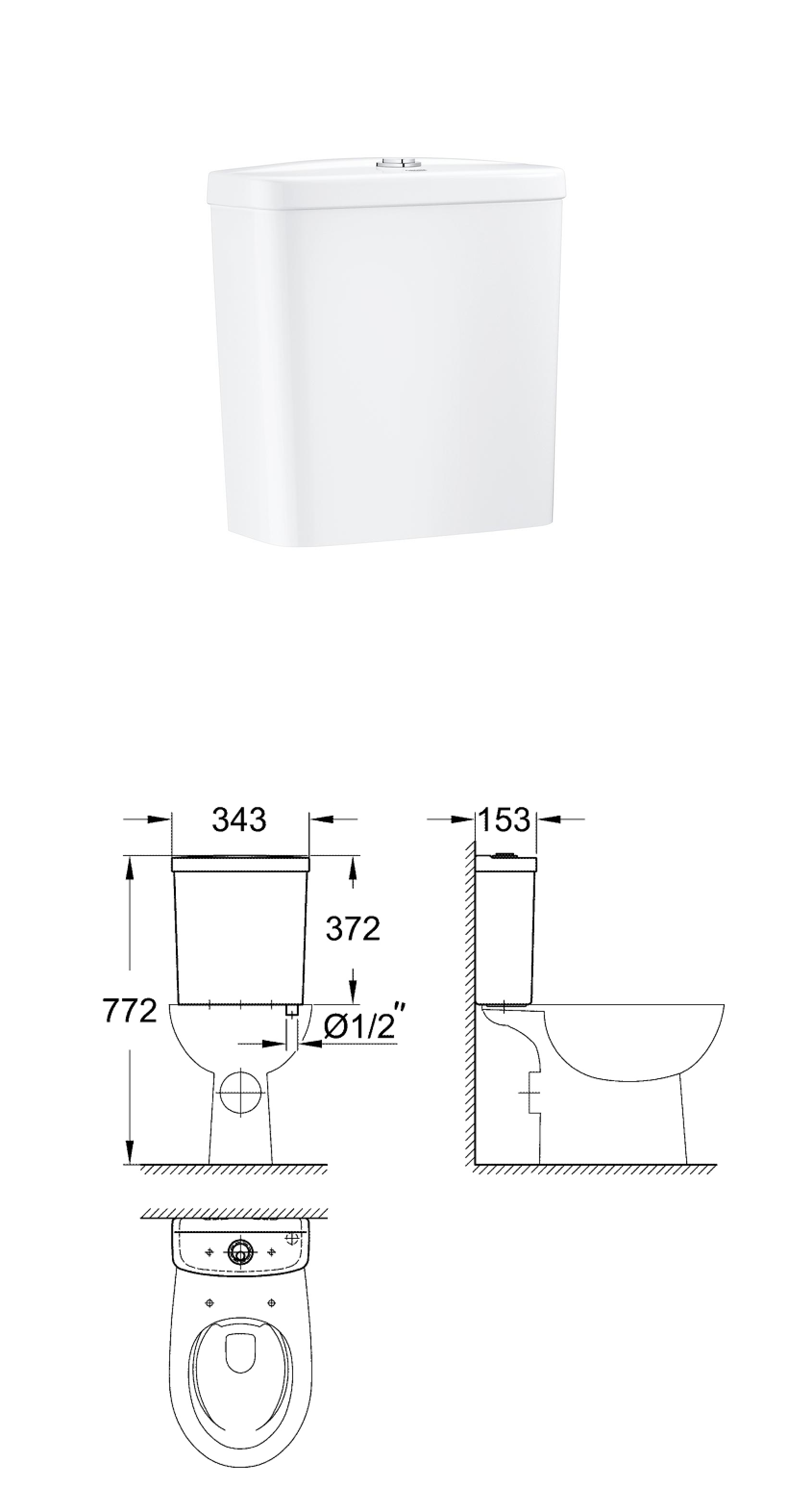 Grohe ceramics bau ceramic wc range grohe bau ceramic bau ceramic exposed flushing cistern bottom inlet pooptronica Image collections